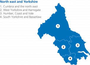 Map of North East and Yorkshire